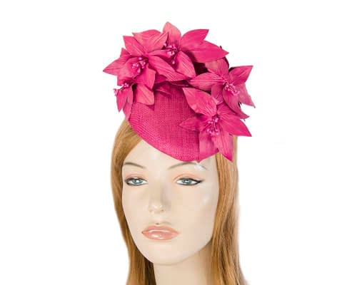 Fascinators Online - Fuchsia leather flower pillbox fascinator by Fillies Collection 1