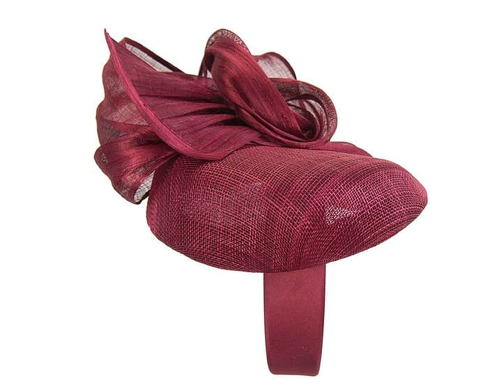 Fascinators Online - Burgundy pillbox fascinator with silk bow by Fillies Collection 4