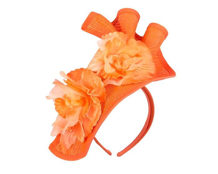 Fascinators Online - Bespoke large orange flower fascinator by Fillies Collection 2