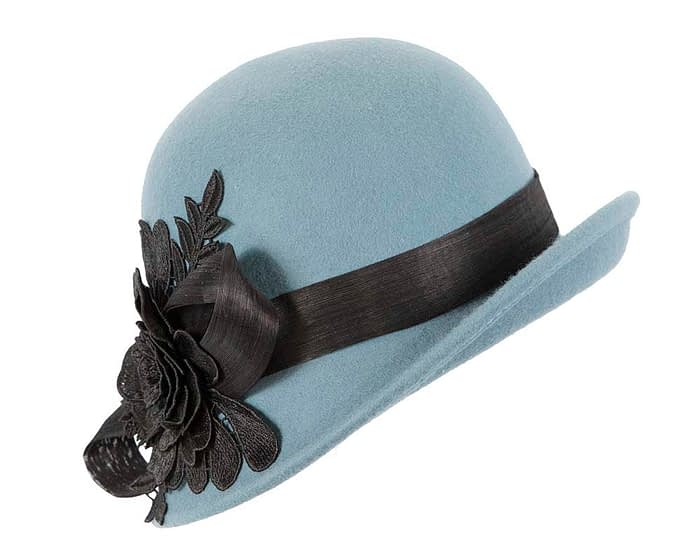 Fascinators Online - Exclusive blue felt cloche hat with lace by Fillies Collection 2