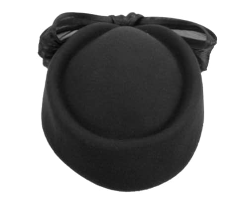 Fascinators Online - Black felt ladies fashion beret hat with bow by Fillies Collection 3