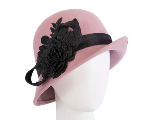 Fascinators Online - Exclusive dusty pink felt cloche hat with lace by Fillies Collection 24