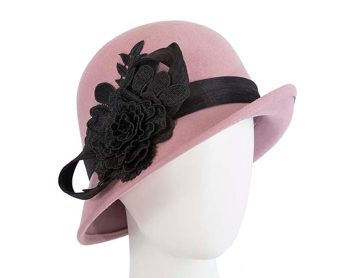 Fascinators Online - Exclusive dusty pink felt cloche hat with lace by Fillies Collection 1