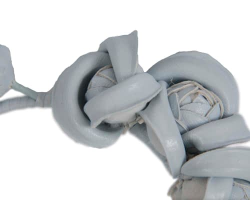 Fascinators Online - Light Blue leather flowers headband by Max Alexander 3