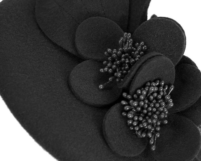 Fascinators Online - Black felt winter pillbox fascinator by Max Alexander 6