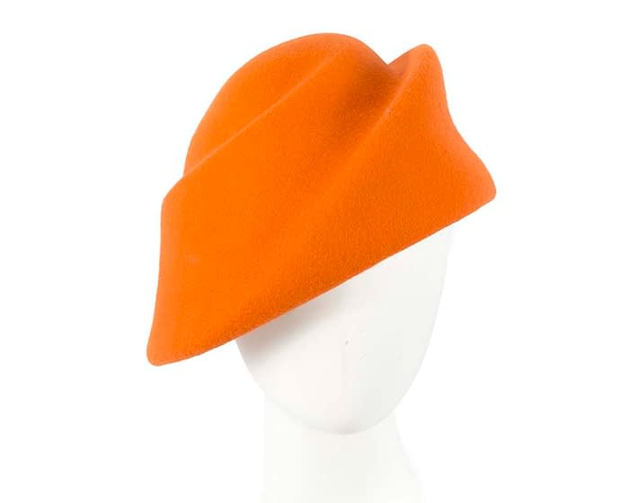 Fascinators Online - Designers orange felt hat 1