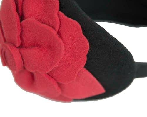 Fascinators Online - Wide headband black winter fascinator with red flower by Max Alexander 4