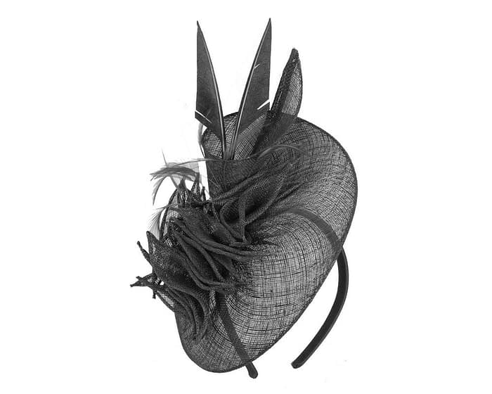 Fascinators Online - Black racing fascinator with feathers by Max Alexander 2