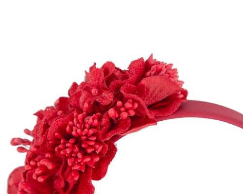Fascinators Online - Racing fascinator - Red flowers on headband by Max Alexander 3