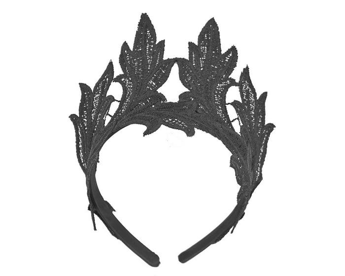 Fascinators Online - Black lace crown fascinator by Max Alexander 2