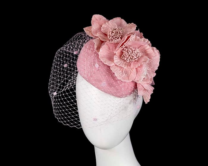 Fascinators Online - Pink Australian Made winter pillbox by Fillies Collection 1