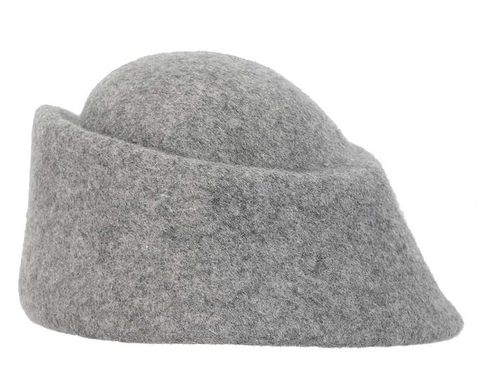 Fascinators Online - Designers grey marle felt hat 3