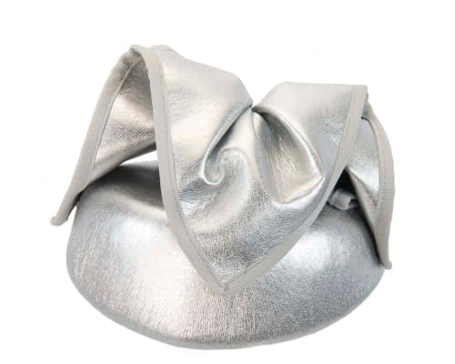 Fascinators Online - Silver leather pillbox fascinator by Max Alexander 6