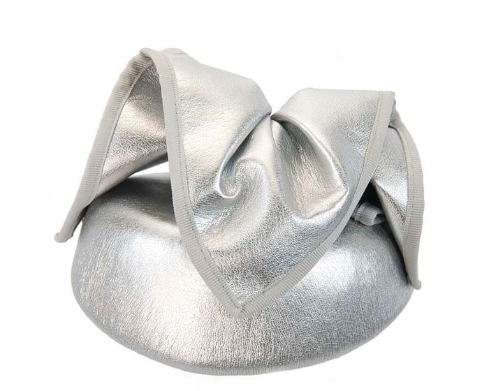 Fascinators Online - Silver leather pillbox fascinator by Max Alexander 6