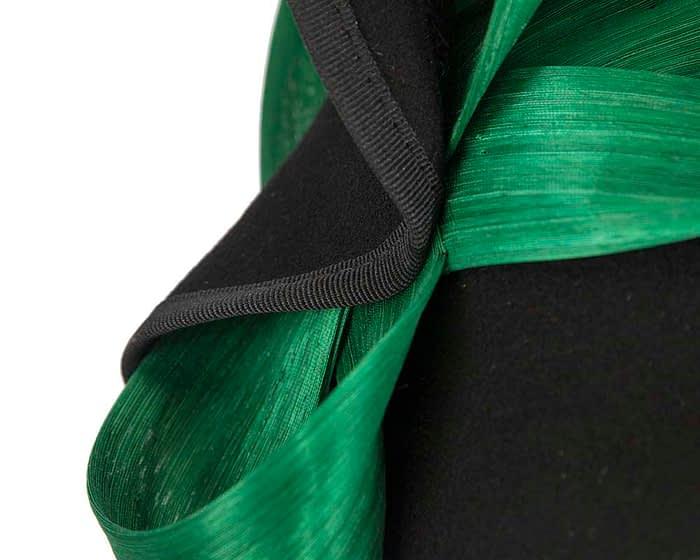 Fascinators Online - Black felt twist with green bow by Fillies Collection 5