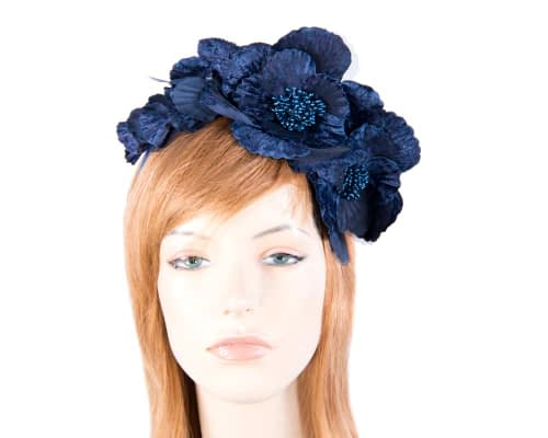 Fascinators Online - Navy flowers on the headband 5