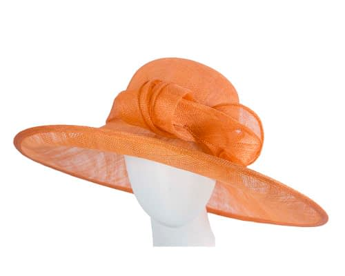 Fascinators Online - Wide brim orange sinamay racing hat by Max Alexander 6