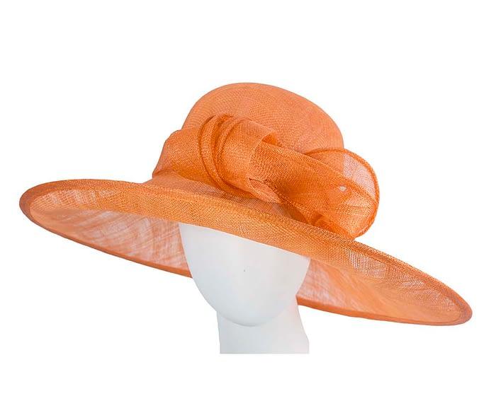 Fascinators Online - Wide brim orange sinamay racing hat by Max Alexander 1