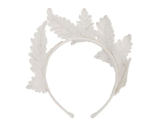 Fascinators Online - Ivory lace crown racing fascinator by Max Alexander 4