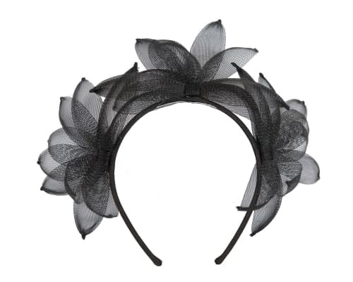 Fascinators Online - Black feather crown racing fascinator by Max Alexander 2