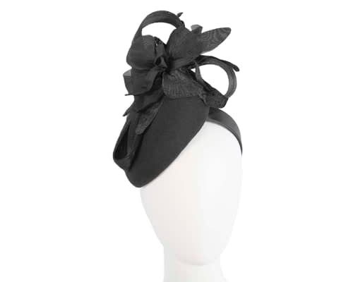 Fascinators Online - Tall black felt pillbox with flower by Fillies Collection 134