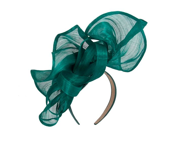 Fascinators Online - Teal sculptured silk abaca fascinator by Fillies Collection 4