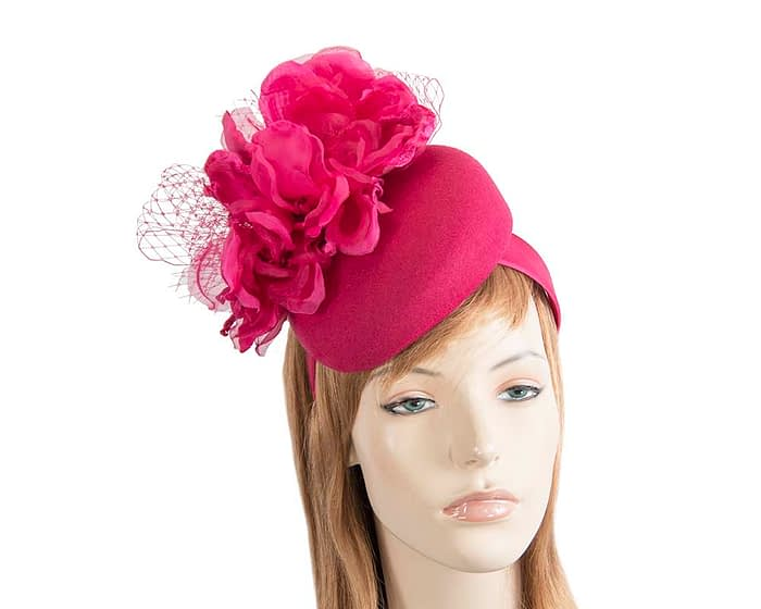 Fascinators Online - Fuchsia pillbox fascinator with flower by Fillies Collection 1