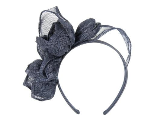 Fascinators Online - Navy flowers racing fascinator 2