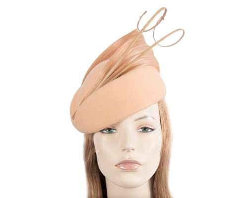 Fascinators Online - Beige felt ladies fashion beret hat with feather by Fillies Collection 26