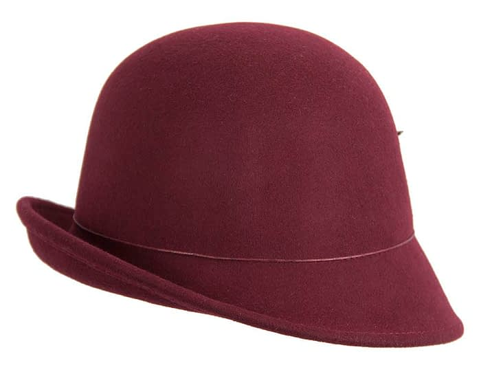 Fascinators Online - Burgundy felt cloche hat with lace by Max Alexander 3