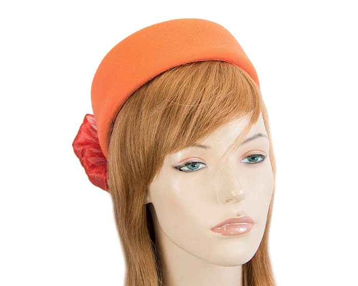 Fascinators Online - Orange felt ladies fashion beret hat with bow by Fillies Collection 1