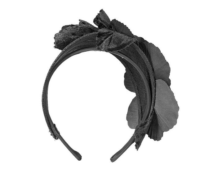 Fascinators Online - Black flower headband fascinator by Max Alexander 5
