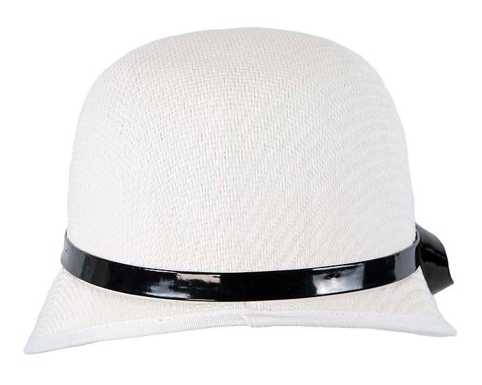 Fascinators Online - White racing cloche bucket hat 5