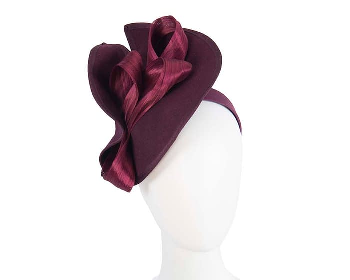 Fascinators Online - Burgundy felt twist with bow by Fillies Collection 1
