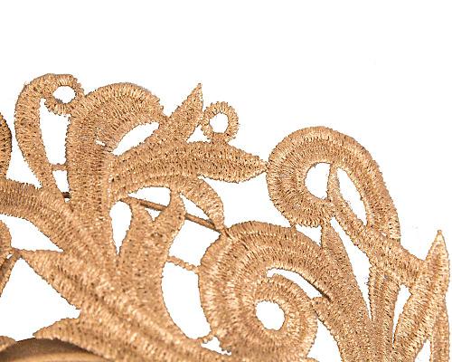 Fascinators Online - Gold lace crown racing fascinator by Max Alexander 3
