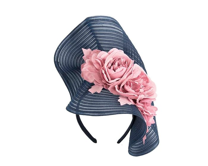 Fascinators Online - Large navy racing fascinator with pink flowers by Fillies Collection 2
