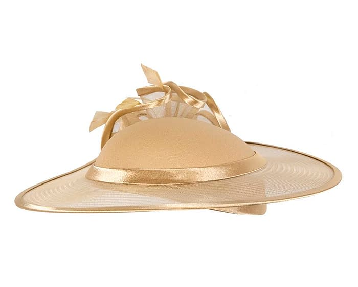 Fascinators Online - Gold custom made Mother of the Bride hat by Cupids Millinery 3