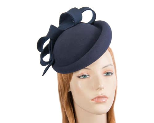 Fascinators Online - Large navy felt fascinator hat by Fillies Collection 34