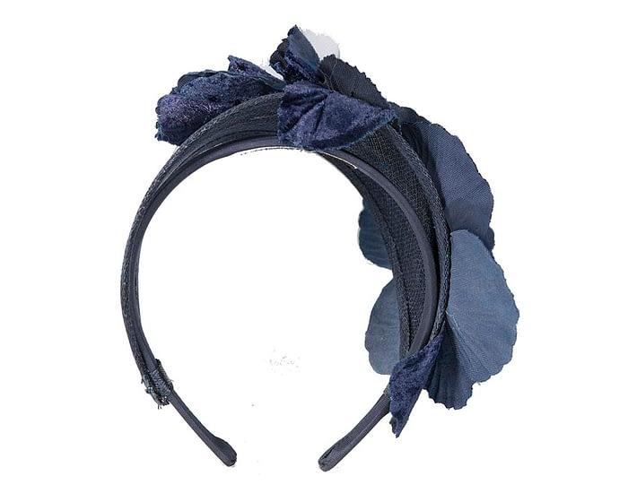 Fascinators Online - Navy flower headband fascinator by Max Alexander 5