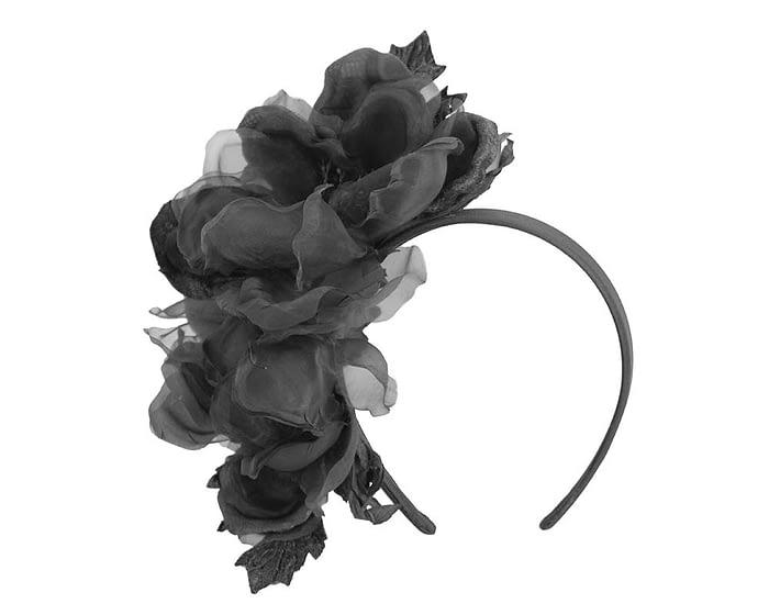 Fascinators Online - Black Silk Flower Fascinator by Fillies Collection 2