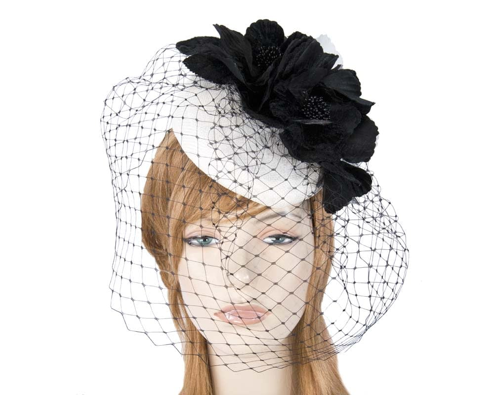 White & Black pillbox with flowers & veil
