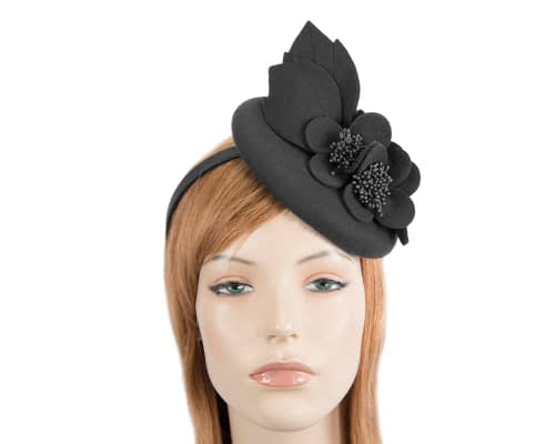 Fascinators Online - Black felt winter pillbox fascinator by Max Alexander 68