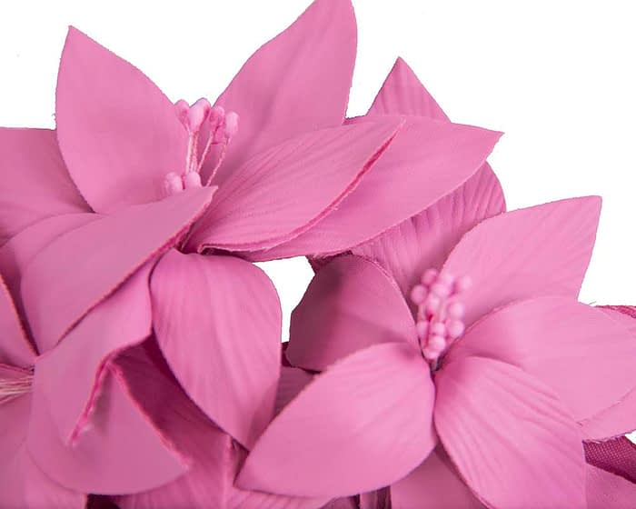 Fascinators Online - Fuchsia leather flower headband by Fillies Collection 3