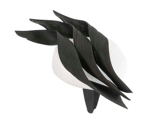 Fascinators Online - White & black pillbox racing fascinator with jinsin trim by Fillies Collection 4