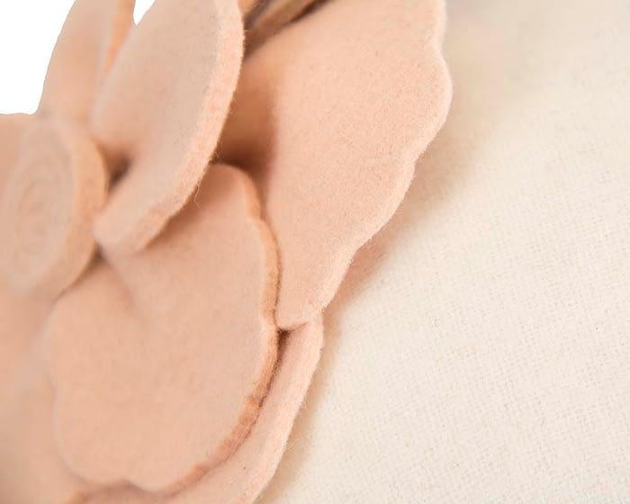 Fascinators Online - Wide headband cream winter fascinator with nude flower by Max Alexander 4