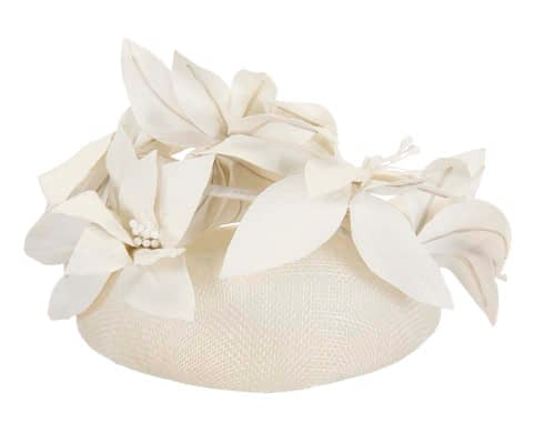 Fascinators Online - Cream leather flower pillbox fascinator by Fillies Collection 4