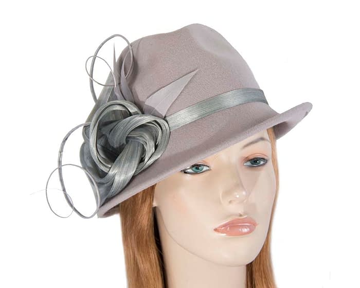Fascinators Online - Exclusive grey felt trilby hat by Fillies Collection 1