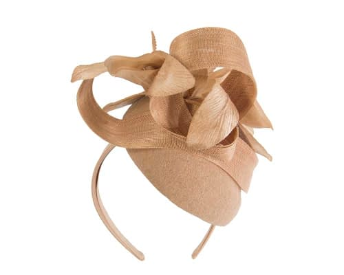 Fascinators Online - Tall beige felt pillbox with flower by Fillies Collection 6