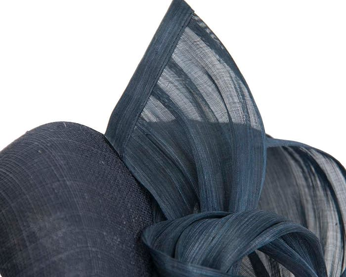 Fascinators Online - Navy pillbox fascinator with silk bow by Fillies Collection 3