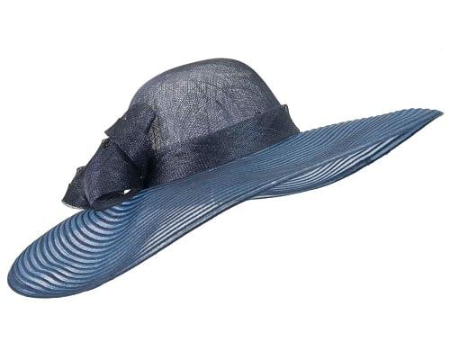 Fascinators Online - Wide brim navy fashion hat by Max Alexander 2